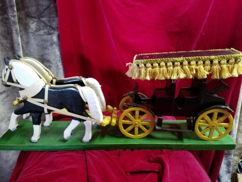 Primitive Vintage Hand Carved Wood Horses And Buggy/ one of a kind/ for a doll?