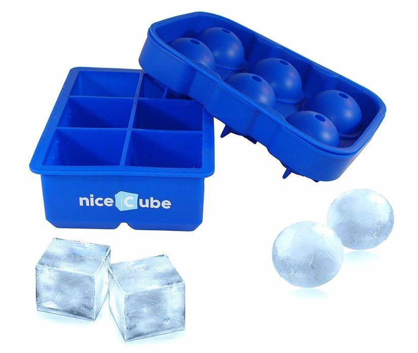 Ice Cube Trays and Molds, Silicone-Large Cubes & Round Ice Ball Maker with Lid