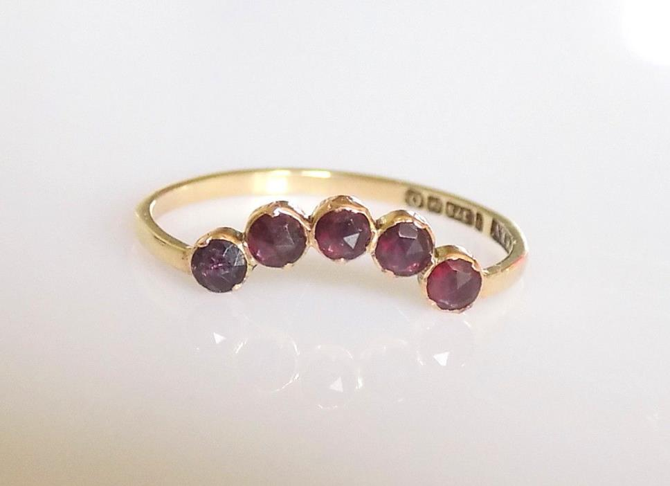 Georgian 9CT Gold Rose cut Garnet Wishbone Ring