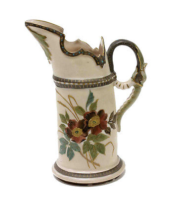 Teplitz Antique Porcelain Pitcher Floral Hand Painted Coral Green Gold