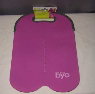 Built NY BYO Bottle Bag Pink Gray Insulated Holds 2 1L Bottles Neoprene NEW