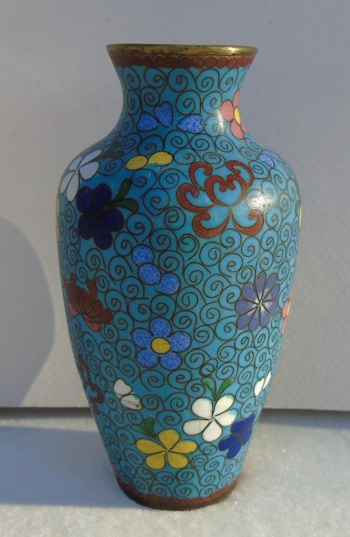 Antique Japanese Cloisonne Vase Blue w/ Flowers Meiji Period