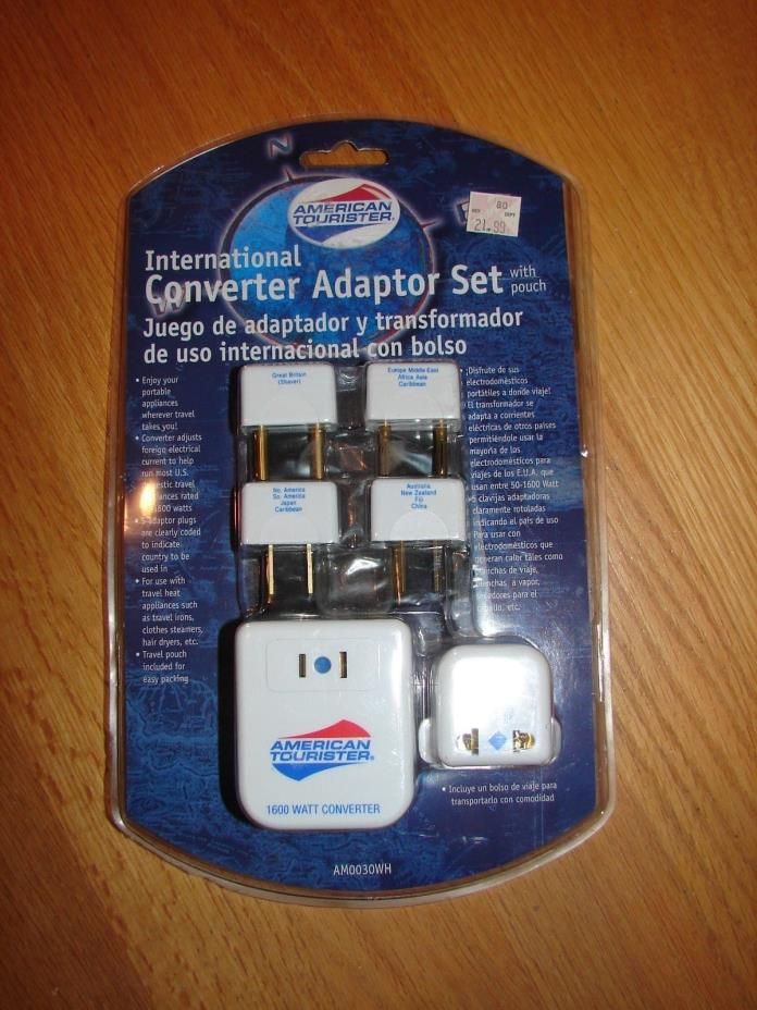 American Tourister International Converter Adaptor Set with Travel Pouch  NEW