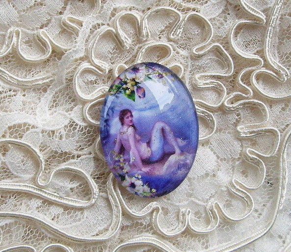 Mermaid On A Rock 30X40mm Glitter Unset Handmade Art Bubble Cameo Cabochon