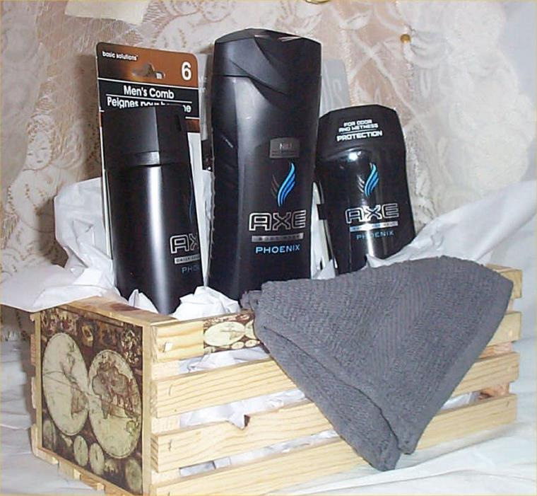 Axe Gift Basket Wood Crate Phoenix Body Wash Fragrance antiperspirant Comb wash