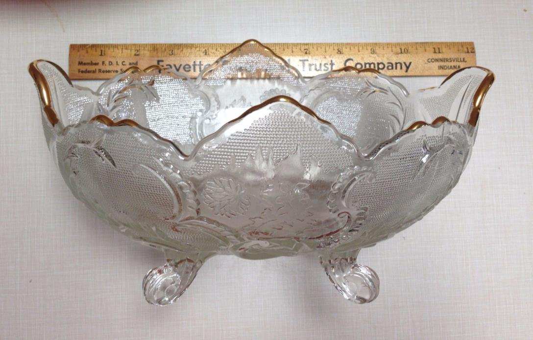 Pressed Clear Glass w/ Gold Edging Oval Footed Serving Bowl Vines/Leaves/ Scroll