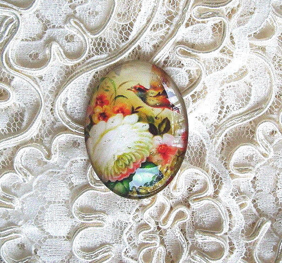 Folk Art Bird Floral 30X40mm Glitter Unset Handmade Art Bubble Cameo Cabochon