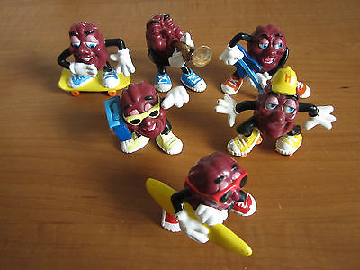 Lot of 6 California Raisins Trumpet Guitar Surfboard Sckateboard Roller Skates