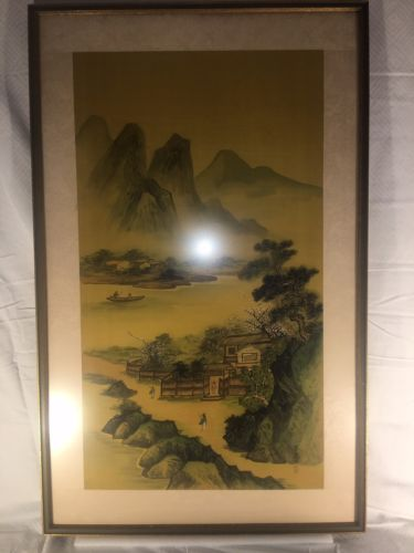 ANTIQUE CHINESE PAINTING ON SILK OF MOUNTAINS VILLAGE TREES ASIAN PEOPLE RIVER