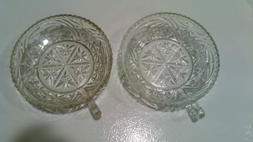 Old Vintage Kitchen Glassware Clear Pressed or Cut Handled Nappy Candy Dish Bowl