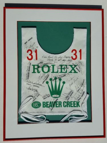 Celebrity Autographed Beaver Creek Rolex Ski Racing Bib #31 Franz, Bart, Justine