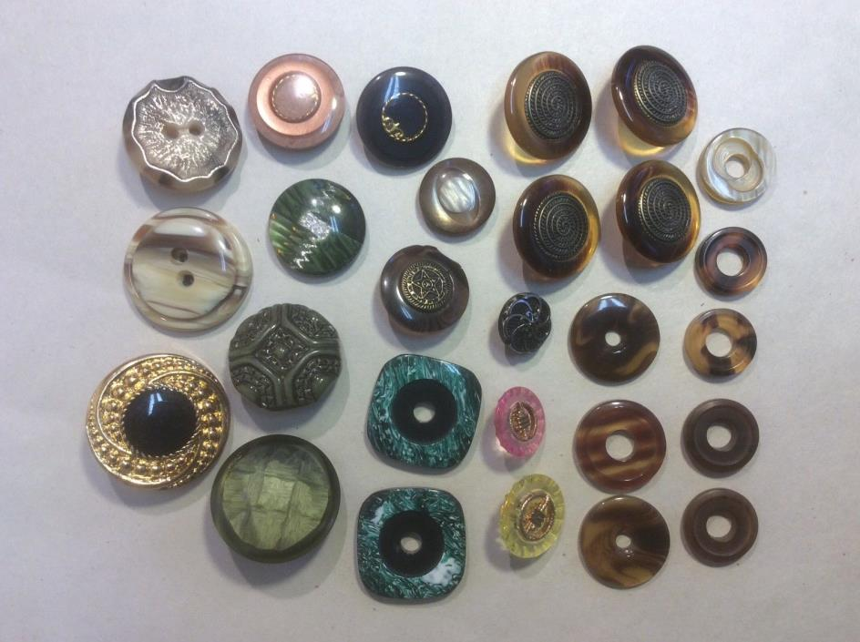 Vtg BUTTONS & BACKS Set of 27 UNIQUE DESIGNS Sew Sewing Bakelite Lucite Asst Lot