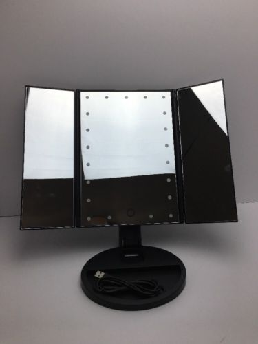 asehold Led Lighted Vanity Mirror Make Up Tri-Fold with 21Pcs Lights