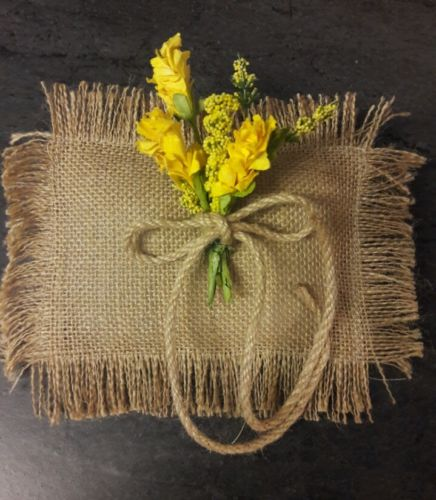 Small rustic burlap bearer pillow with yellow flowers. Boho, hippie, western