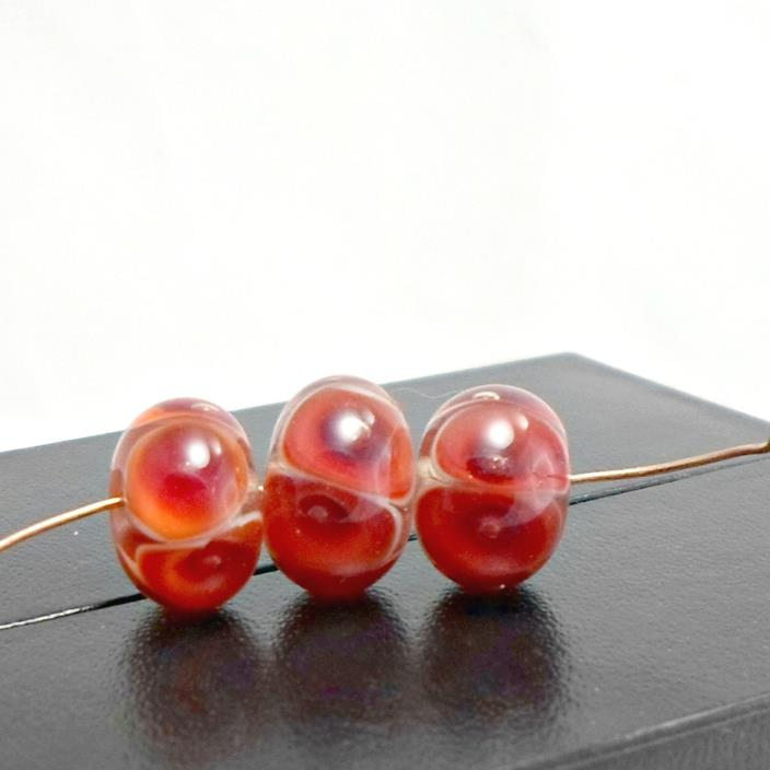 Bobs Flame Beads handmade lampwork 3 reddish orange spotted rounds 3