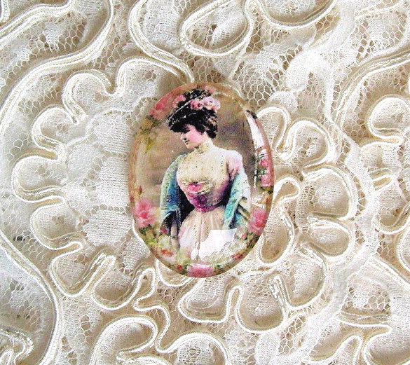 Antique Lady 30X40mm Glitter Unset Handmade Art Bubble Cameo Cabochon