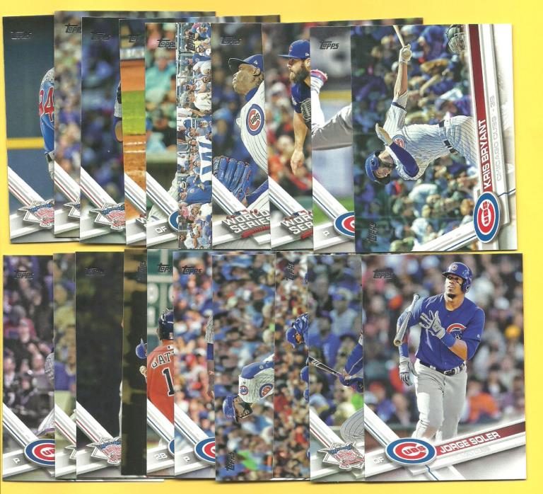 2017 Topps Chicago Cubs Complete Team Set (20) With World Series Set Bryant