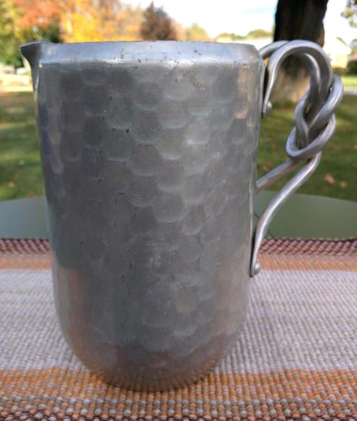 Vintage Hand Forged Hammered Aluminum Pitcher with Knot Handle - Metalware Decor