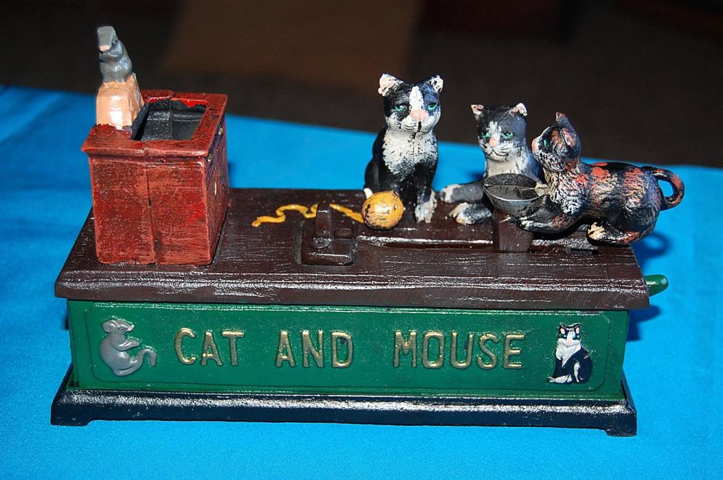 Reproduction Cast Iron Cat and Mouse Mechanical Bank