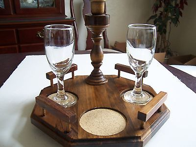 Wood Tabletop Wine for 2 Display Holder for Wine Carafe, Wine Glasses, Candle
