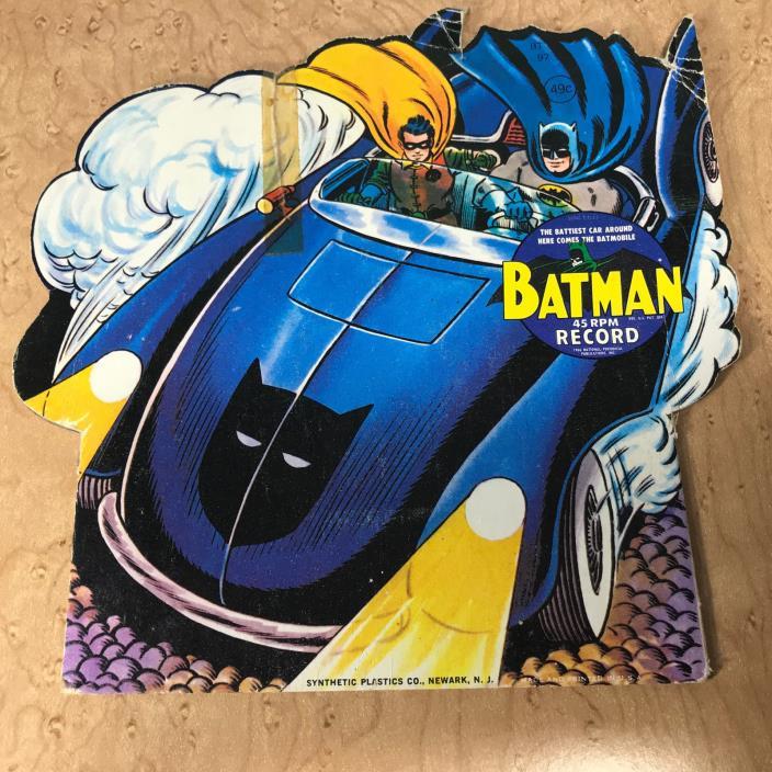 BATMAN BATMOBILE  45 rpm record, BT 97, vintage 60s, 7 inch