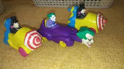 (3) Vintage McDonald's 1991 DC Comics Batman Returns Penguin &1993 Joker Toy Car