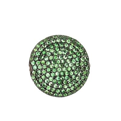 New 1.62Ct Tsavorite Finding 925 Sterling Silver Gemstone Pave Round Spacer 20MM