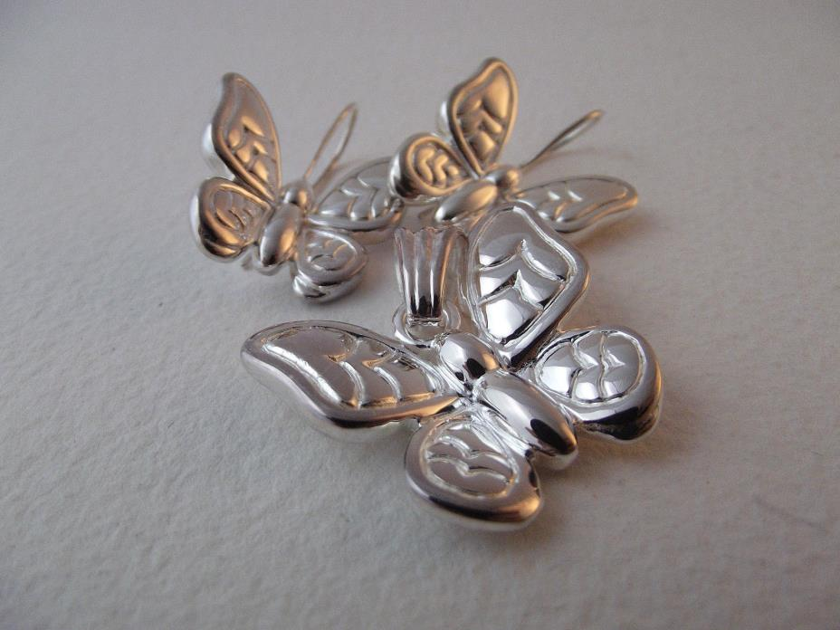 Matching Sterling Silver Butterfly Earrings and Pendant OTC 925
