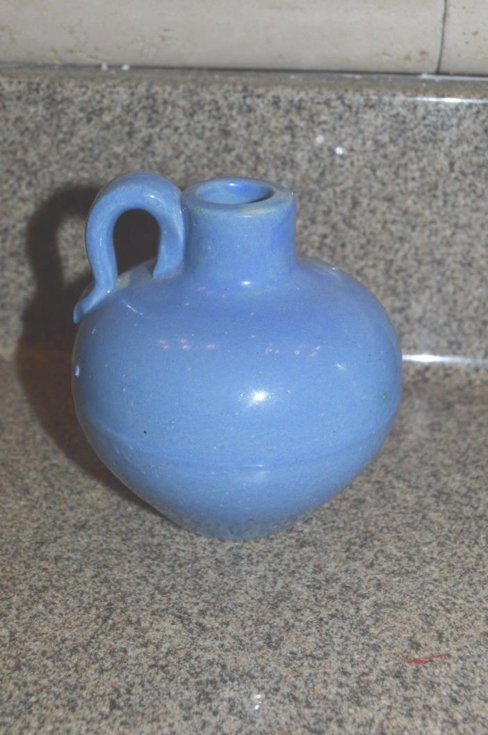 Uhl Pottery Jug 509 in Blue Small Vintage Stoneware Round Ewer syrup Pitcher