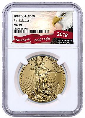 2018 1 oz Gold American Eagle $50 NGC MS70 FR Excl Eagle Label PRESALE SKU51155