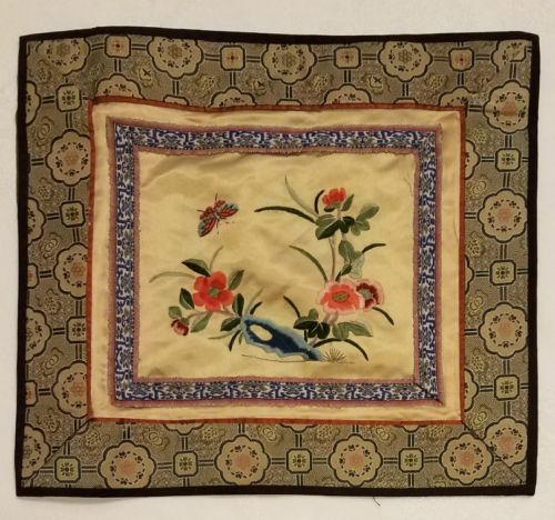 Vintage Chinese Butterfly and Flowers Silk Embroidery Panel