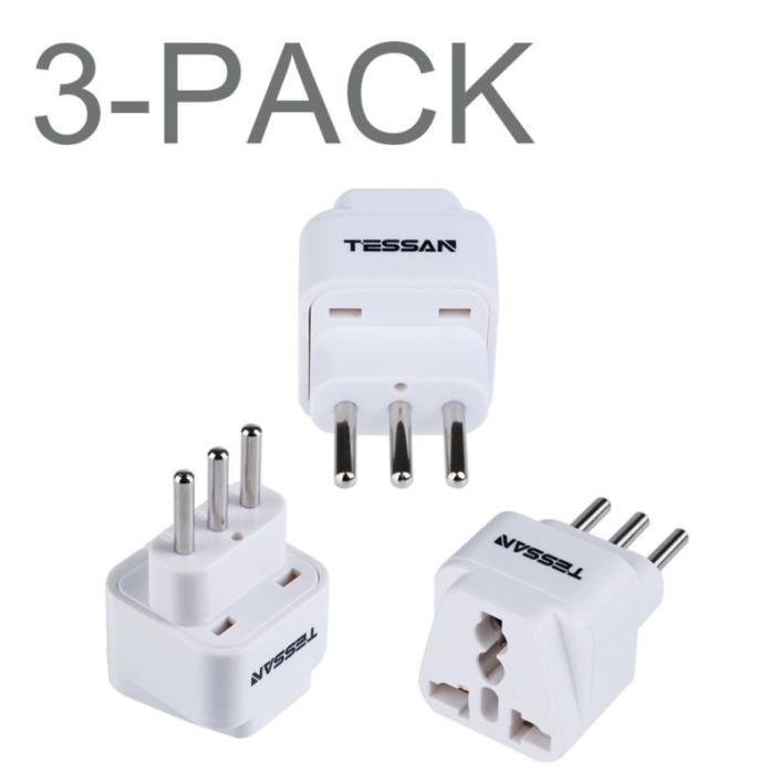 TESSAN Grounded Universal Travel Plug Adapter USA to Italy Travel Prong Converte