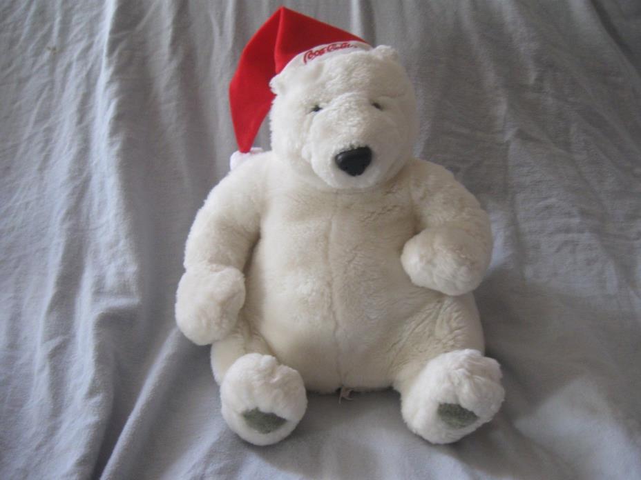 Coca Cola Polar Bear Plush santa hat Stuffed Animal Sitting Bean Bag 12