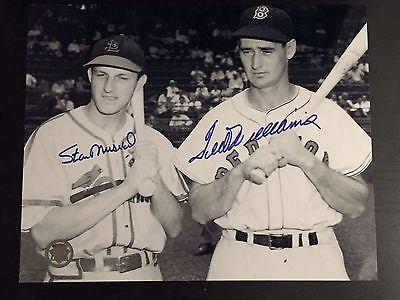 Ted Williams & Stan Musial signed 8x10 photo with COA- Delayed  Shipping
