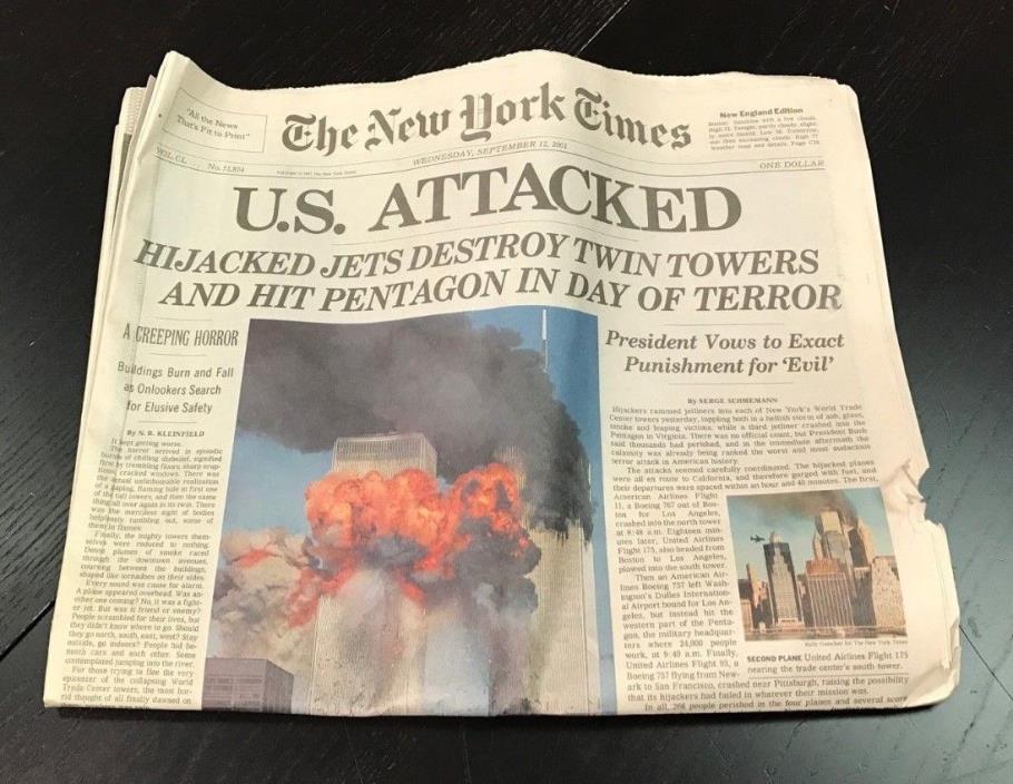 THE NEW YORK TIMES SEPTEMBER 12, 2001 9 11 WORLD TRADE CENTER