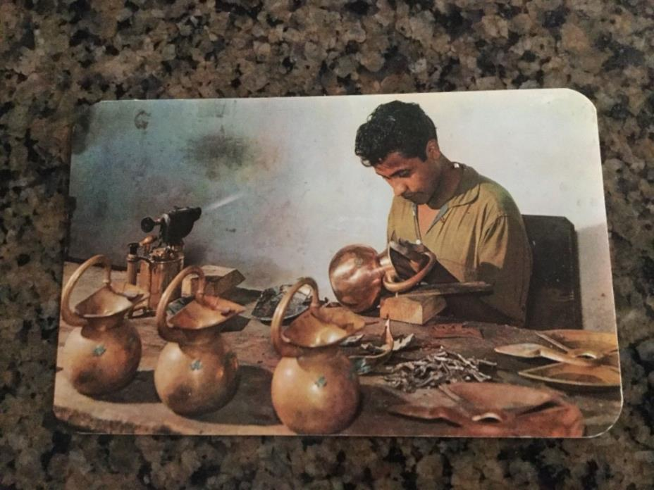 Vintage Old Postcard RPPC Taxco Mexico Silversmith Sterling Teapots Spratling ?