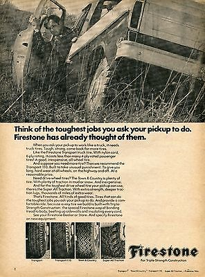 1970 Print Ad of Firestone Pickup Truck Tires Transport 100 Town & Country