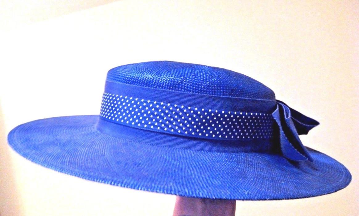 New Boater Hat Cobalt Blue Polka Dot Wide Brim Derby Wedding Party Dress Church