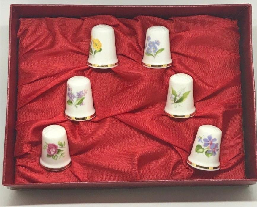 SIX Vintage Queensway Fine Bone China Thimbles. Original Box. Perfect Condition!