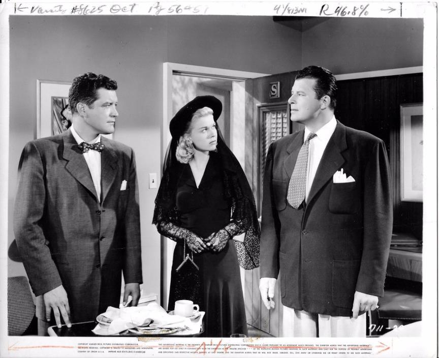 VINTAGE PRESS RELEASE MOVIE PHOTOGRAPH: DORIS DAY IN ALL BLACK WITH MEN