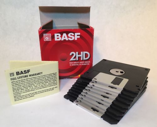 BASF 2HD High Density Double Sided 1.44MB Diskettes 135 TPI 9 Pieces (1 Missing)