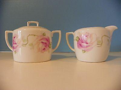 Bavarian sugar bowl and creamer rose pattern