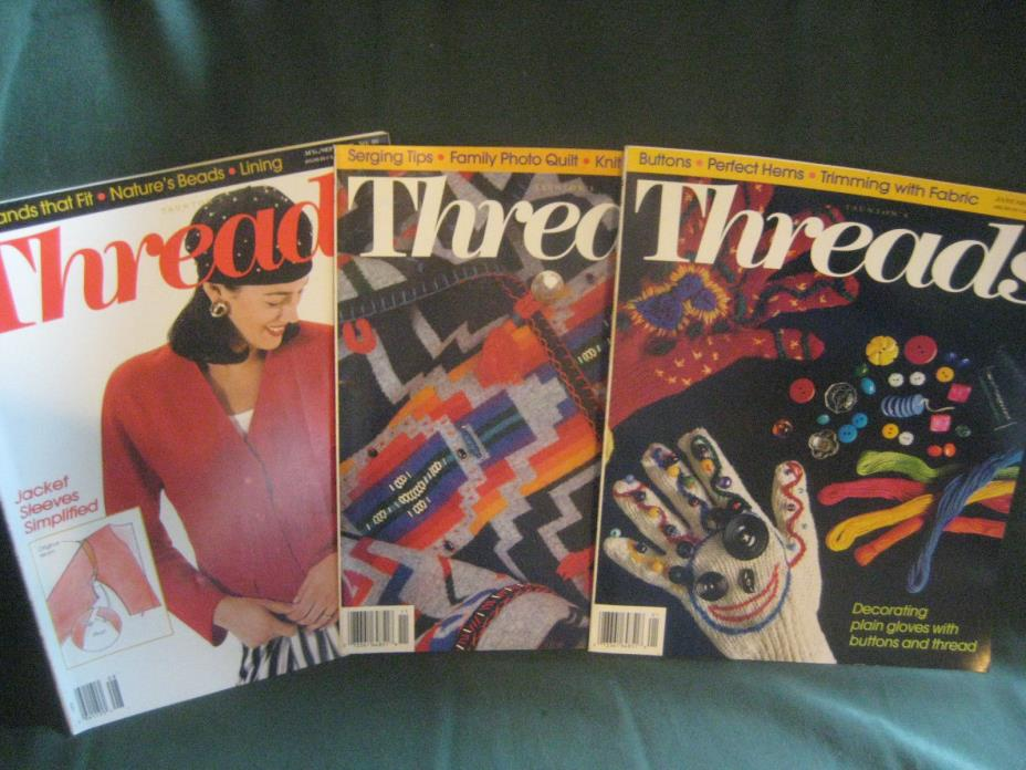 THREADS magazine vtg back issue LOT O 93/94 #48 49 50 couture sewing needlework