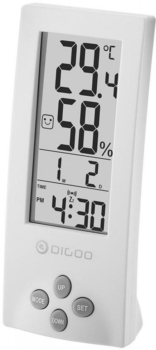 Digoo DG-TH1177 Digital Transparent Screens White Hygrometer Thermometer Sensor