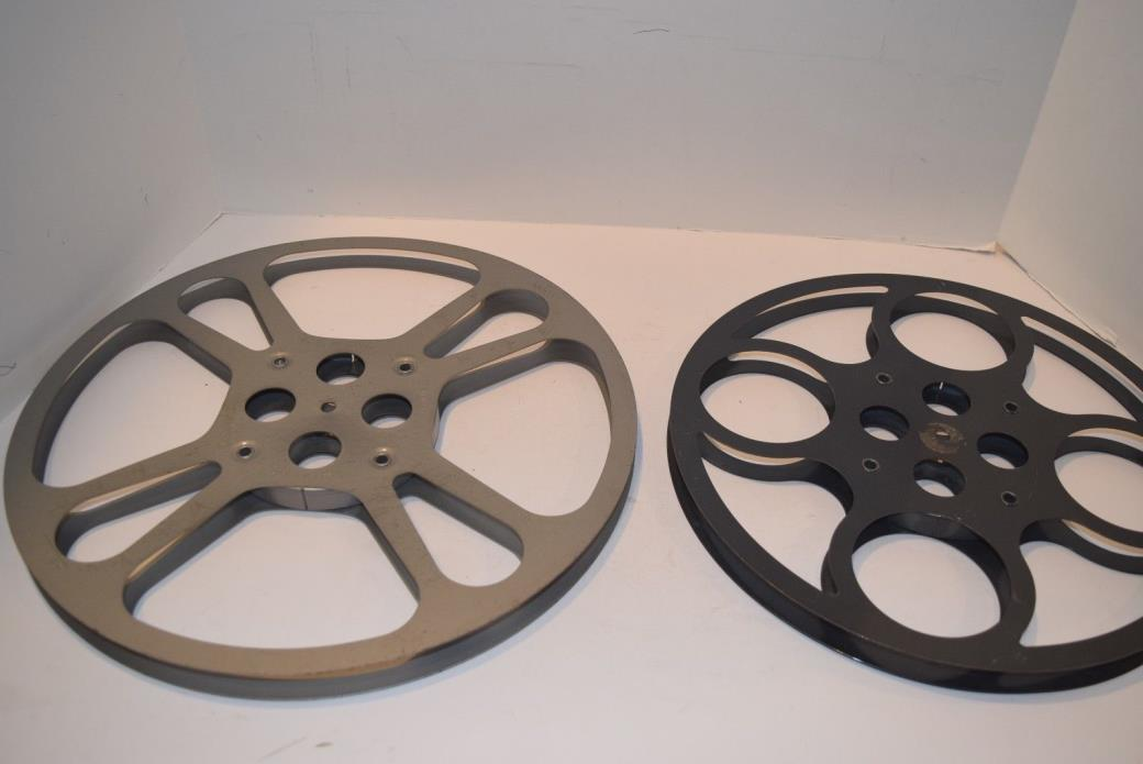 Set of 2 Large 16mm Camera Film Metal Reels - 1600' & One 12