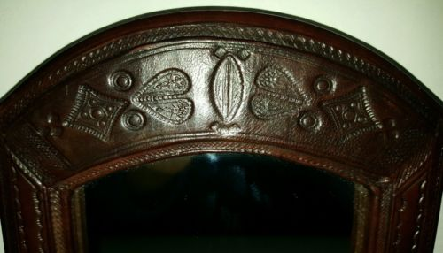 vintage framed embossed tooled leather mirror ethnic tribal