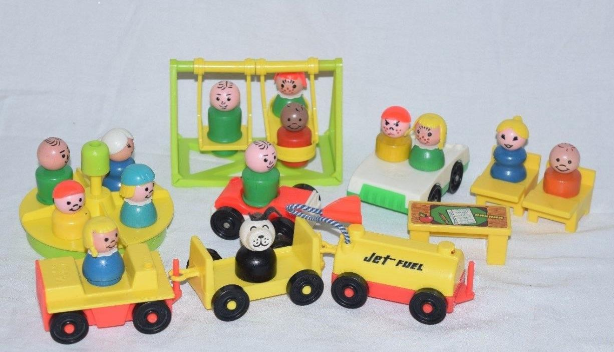 Vintage Fisher Price Little People 14 Figures Playground School Desk Chairs Cars