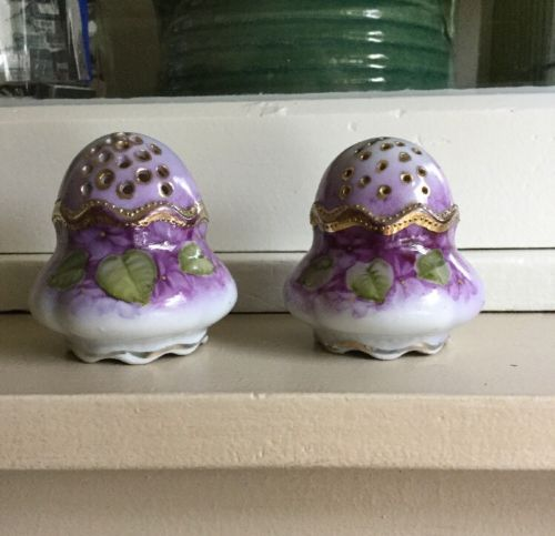 Antique Victorian Hand Gilded Painted Porcelain Salt & Pepper Shakers