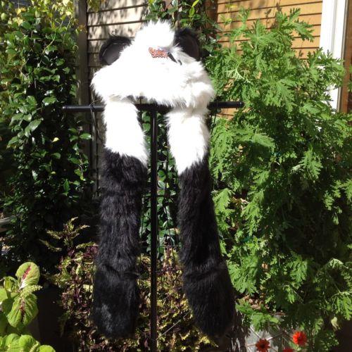 Spencers Faux Fur Panda Hat/Scarf/Handwarmer - One Size - Nwt