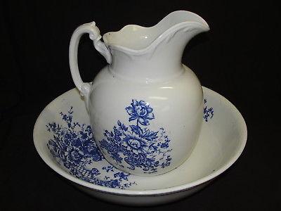 Rare Antique Maddocks Lamberton Works Royal Porcelain Pitcher & Wash Basin Bowl